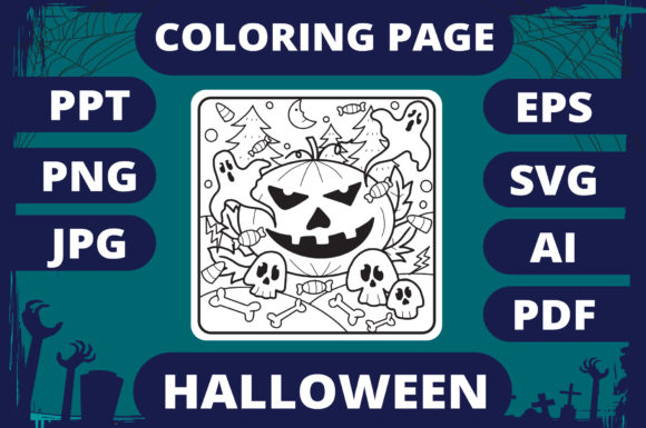 Print on Demand: Halloween Coloring Page for Kids #29 V2 Graphic Coloring Pages & Books Kids By MikeToon Studio