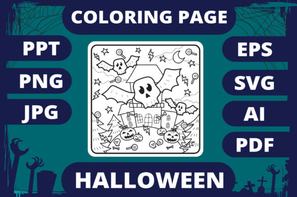 Print on Demand: Halloween Coloring Page for Kids #3 V2 Graphic Coloring Pages & Books Kids By MikeToon Studio