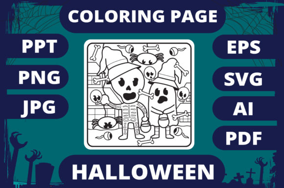Print on Demand: Halloween Coloring Page for Kids #30 V2 Graphic Coloring Pages & Books Kids By MikeToon Studio