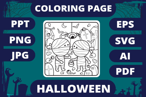 Print on Demand: Halloween Coloring Page for Kids #4 V2 Graphic Coloring Pages & Books Kids By MikeToon Studio