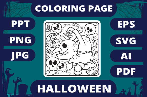 Print on Demand: Halloween Coloring Page for Kids #6 V2 Graphic Coloring Pages & Books Kids By MikeToon Studio