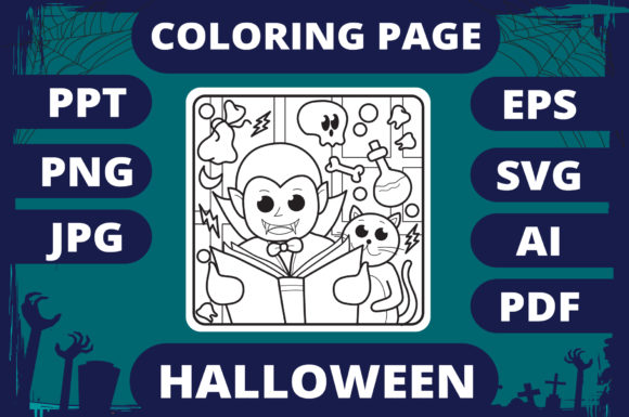Print on Demand: Halloween Coloring Page for Kids #7 V2 Graphic Coloring Pages & Books Kids By MikeToon Studio