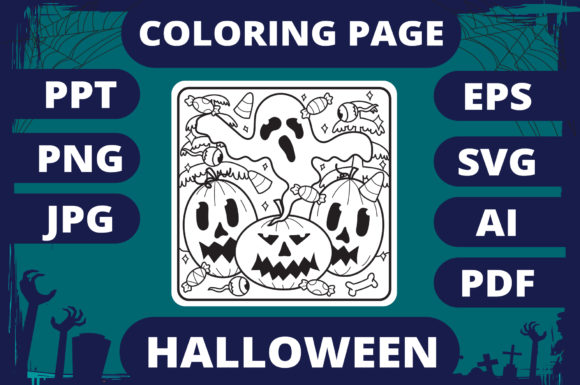 Print on Demand: Halloween Coloring Page for Kids #8 V2 Graphic Coloring Pages & Books Kids By MikeToon Studio