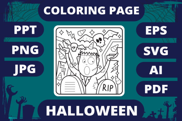 Print on Demand: Halloween Coloring Page for Kids #9 V2 Graphic Coloring Pages & Books Kids By MikeToon Studio