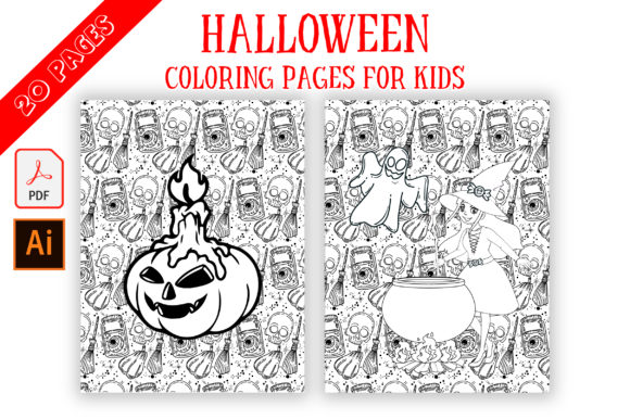 Print on Demand: Halloween Pattern Coloring Pages Graphic Coloring Pages & Books Kids By Fox Design Studio