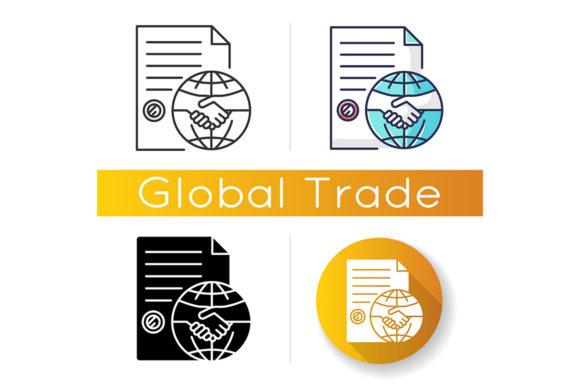 Print on Demand: International Trade Agreement Icon Graphic Icons By bsd studio