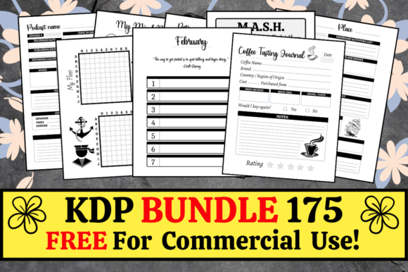 Print on Demand: KDP Bundle Pack 175 Templates + Extras Gráfico Páginas KDP Por Hungry Puppy Studio
