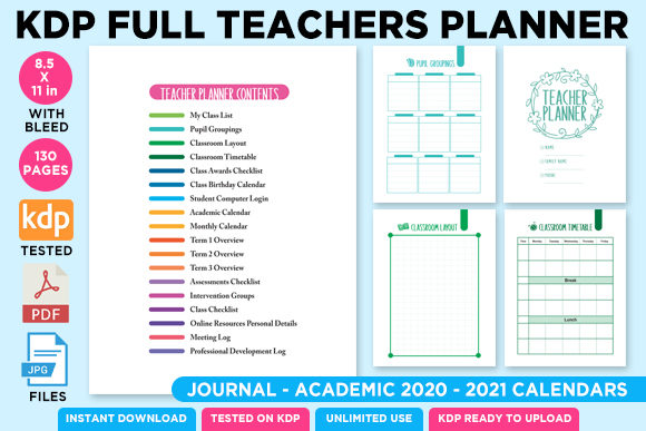 Print on Demand: KDP Full Premium Teacher Planner 2021 Graphic KDP Interiors By Queen Dreams Store - Image 1