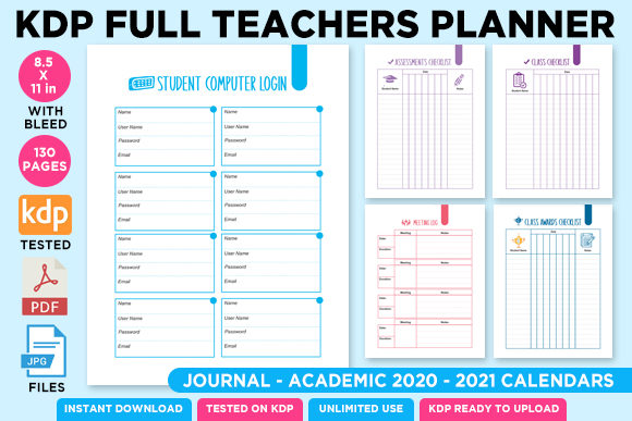 Print on Demand: KDP Full Premium Teacher Planner 2021 Graphic KDP Interiors By Queen Dreams Store - Image 3