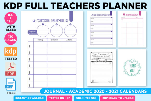 Print on Demand: KDP Full Premium Teacher Planner 2021 Graphic KDP Interiors By Queen Dreams Store - Image 4