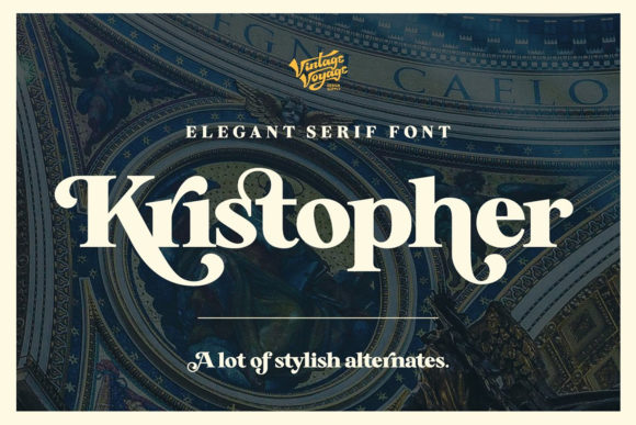 Print on Demand: Kristopher Serif Font By vintagevoyageco