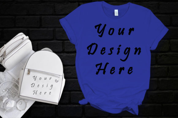 Mockup Blue T-Shirt Graphic Product Mockups By MockupsByGaby