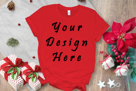 Mockup Red Tshirt, Christmas Gifts Graphic Product Mockups By MockupsByGaby - Image 1
