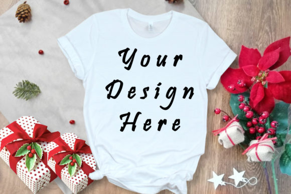 Mockup White T-shirt, Christmas Gifts Graphic Product Mockups By MockupsByGaby