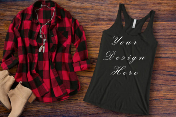 Mockup Woman Black Next Level Tank Top Graphic Product Mockups By MockupsByGaby