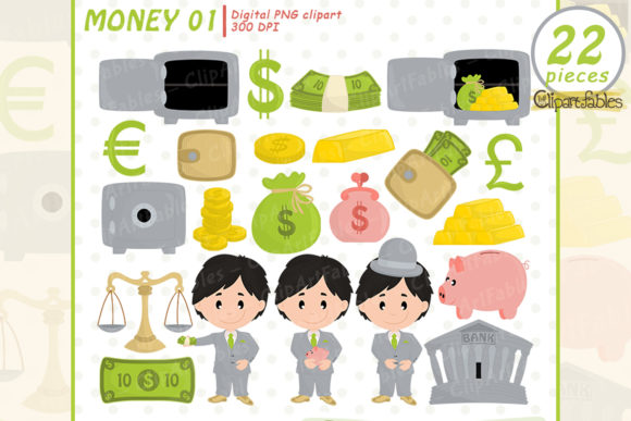 Money Clipart, Cute Piggy Bank Design Graphic Illustrations By clipartfables