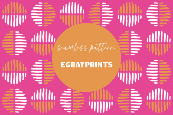 Print on Demand: Pink/Orange Striped Doodle Spots Pattern Graphic Patterns By brightgrayart