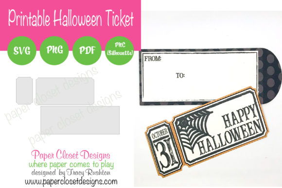 Print on Demand: Printable Halloween Ticket Graphic 3D SVG By rushton_tracy