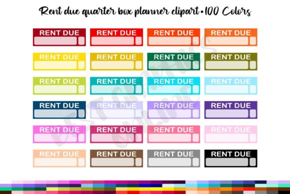 Rent Due Quarter Box Planner Clipart Set Graphic