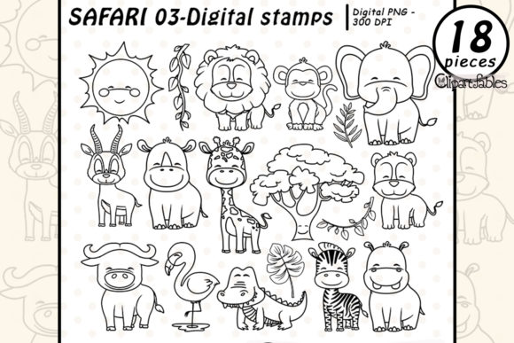 Safari Friends - Digital Stamps Graphic Illustrations By clipartfables