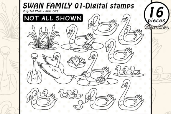 Swan Family Digital Stamps, Mothers Day Graphic Illustrations By clipartfables