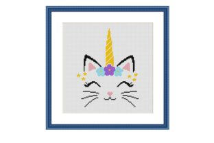 Print on Demand: Unicorn Cat Animal Cross Stitch Pattern Graphic Cross Stitch Patterns By Tango Stitch