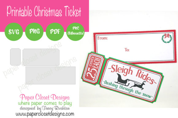 Print on Demand: Vintage Christmas Slimline Ticket Graphic 3D SVG By rushton_tracy