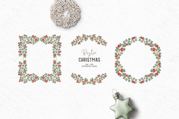 Print on Demand: Vintage Christmas Wreath Clipart Graphic Illustrations By Wallifyer