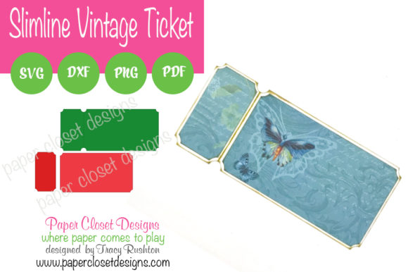Print on Demand: Vintage Ticket Slimline Card Graphic 3D SVG By rushton_tracy