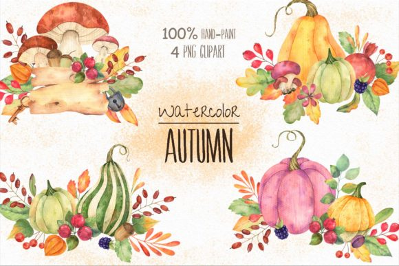 Print on Demand: Watercolor Autumn Compositions Graphic Illustrations By VashaRisovasha