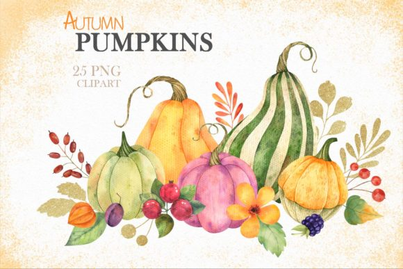 Print on Demand: Watercolor Autumn Pumpkins Clipart Graphic Illustrations By VashaRisovasha