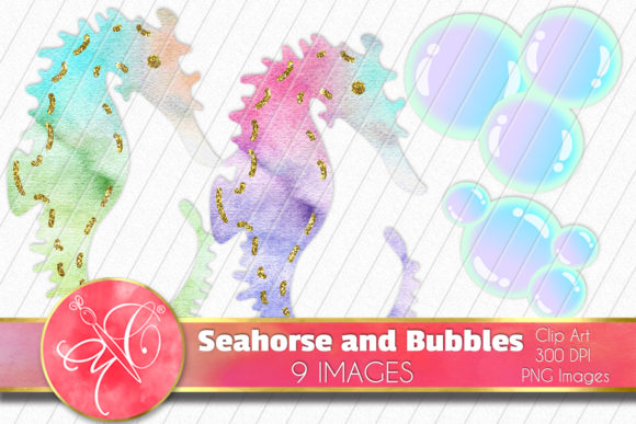 Watercolor Seahorse and Bubbles Clip Art Graphic Illustrations By paperart.bymc