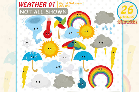Weather Clipart, Cute Cloud Clipart Graphic Illustrations By clipartfables