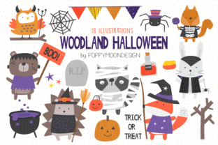 Print on Demand: Woodland Halloween Clipart Graphic Illustrations By poppymoondesign