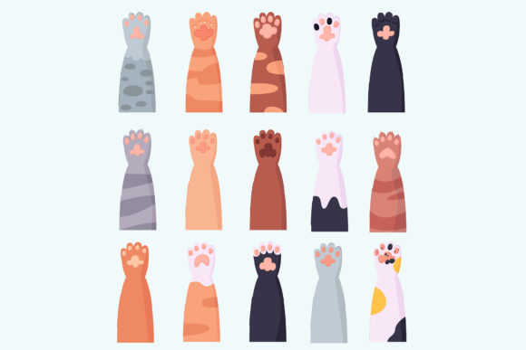 Cat Paw Cartoon Set Icon Animal Legs Graphic Illustrations By april_arts