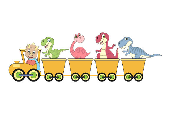 Print on Demand: Dinosaur on the Train Simple Vector Graphic Illustrations By curutdesign