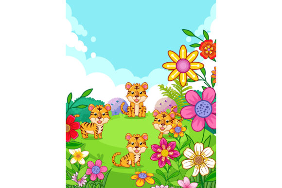 Happy Cute Tigers with Flowers Playing Graphic Illustrations By Aghiez