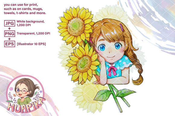 Print on Demand: Pigtail Hair Girl and Two Sunflowers Graphic Illustrations By huapika