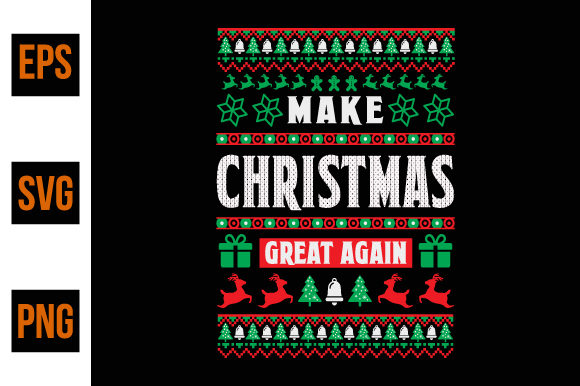 Print on Demand: Ugly Christmas Sweater Design- Vector Gráfico Plantillas para Impresión Por ajgortee