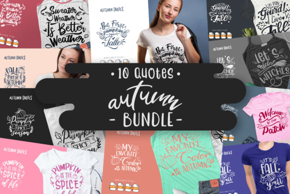 Print on Demand: 10 Autumn Bundle - Lettering Quotes Graphic Crafts By Vunira