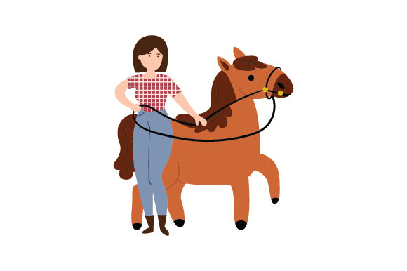 Girl Leading Horse by Reins Cowgirl Craft Cut File By Creative Fabrica Crafts