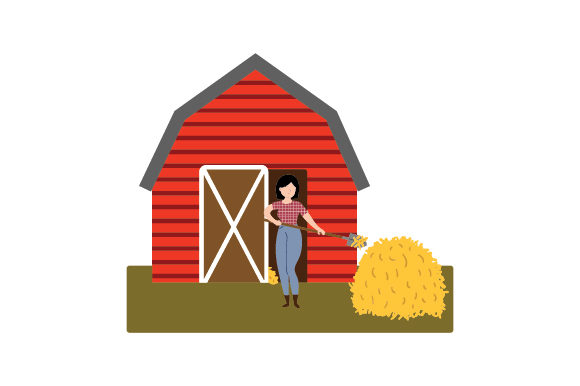 Girl Shoveling Barn Cowgirl Craft Cut File By Creative Fabrica Crafts