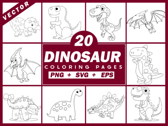 20 Dinosaur Coloring Pages Vector + PNG Graphic