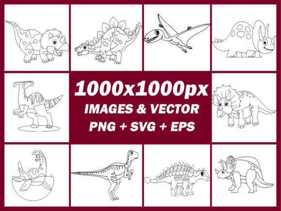 20 Dinosaur Coloring Pages Vector + PNG Graphic Download