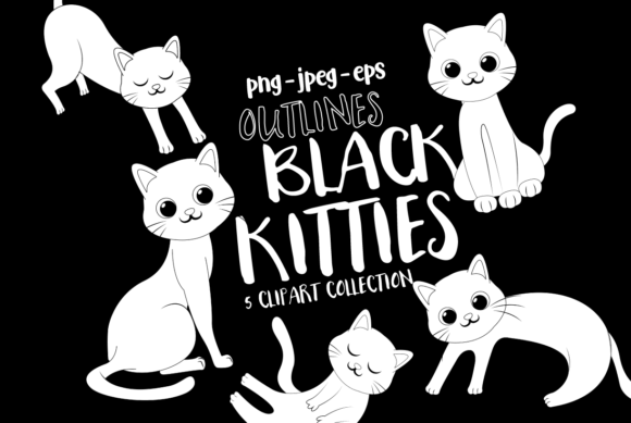 Print on Demand: Black Cats Clipart - Outlines Graphic Illustrations By DigitalPapers