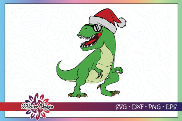 Christmas Funny T-rex with Christmas Hat Graphic Crafts By ssflower