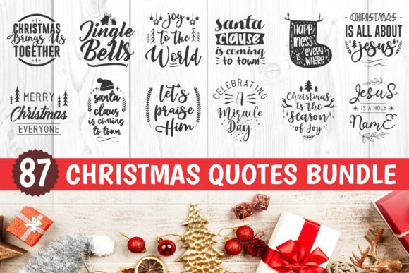 Print on Demand: Christmas Quotes Bundle Graphic Crafts By Universtock