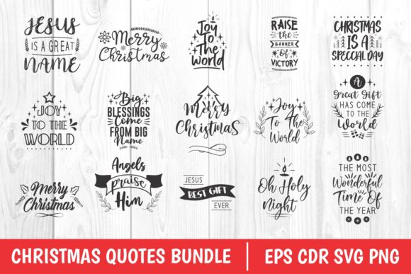 Christmas Quotes Bundle Graphic Download