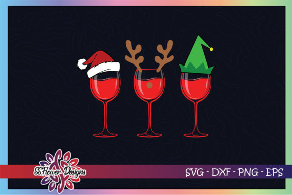Christmas Wine Glasses with Hat Graphic Graphic Crafts By ssflower