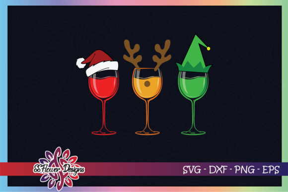 Christmas Wine Glasses with Hat Graphic Crafts By ssflower